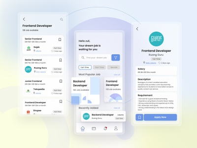 Job Finder Mobile Design figma ui design design filter blue ios job finder job application job search mobile app mobile design search mobile app finder job