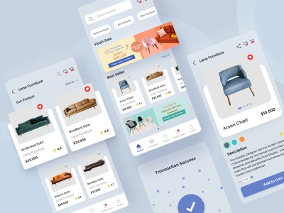 Furniture E-Commerce App mobile ui shopping app sofa blue ecommence ecommerce app product page ios app ios app design ecommerce furniture furniture design furniture app
