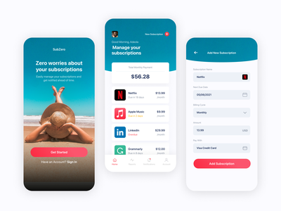 SubZero - Subscription Management App UI design mobile app splash screen