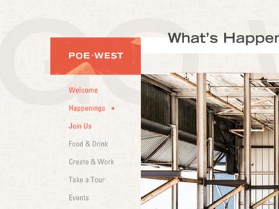 Poe West Website layout typography logo identity ui branding design
