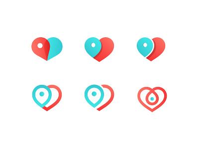 Heart Symbol color shapes identity logo branding design