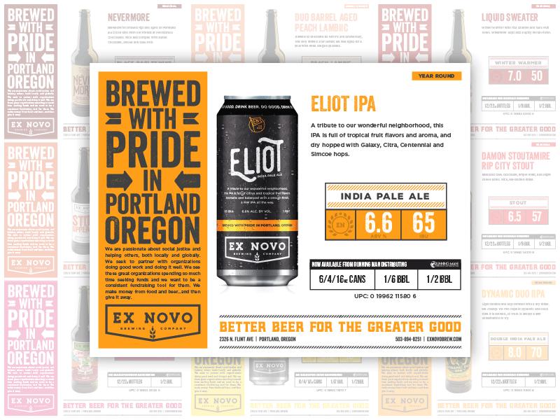 Distributor Sell Sheets for Ex Novo sell sheets beer design print design craft beer beer