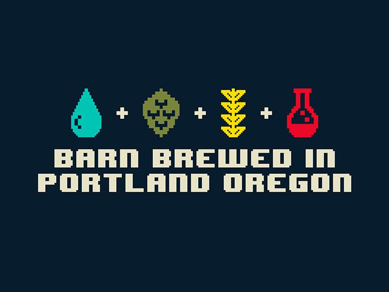 Barn Brewed yeast water malt hops beer 8bit branding
