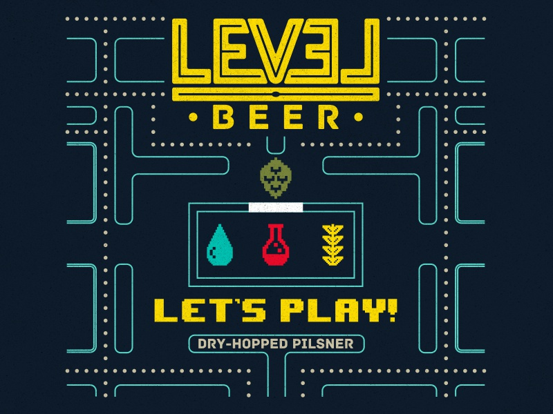 Let's Play Label beer label beer design branding pacman packaging 8bit retro
