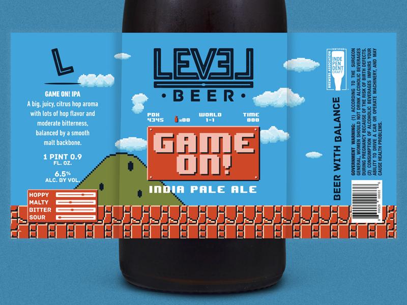 Level Beer - Game On! IPA Label 8 bit craft beer packaging beer label beer