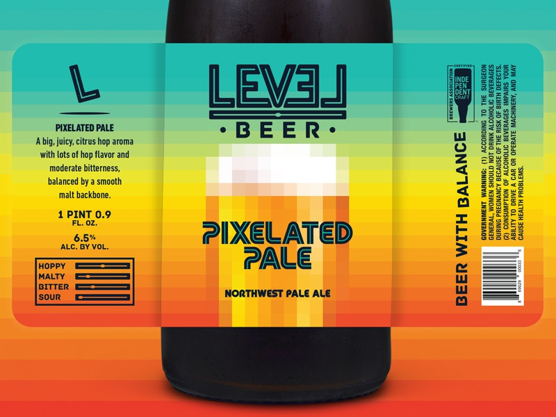 Level Beer - Pixelated Pale Label packaging craft beer beer label beer 8 bit
