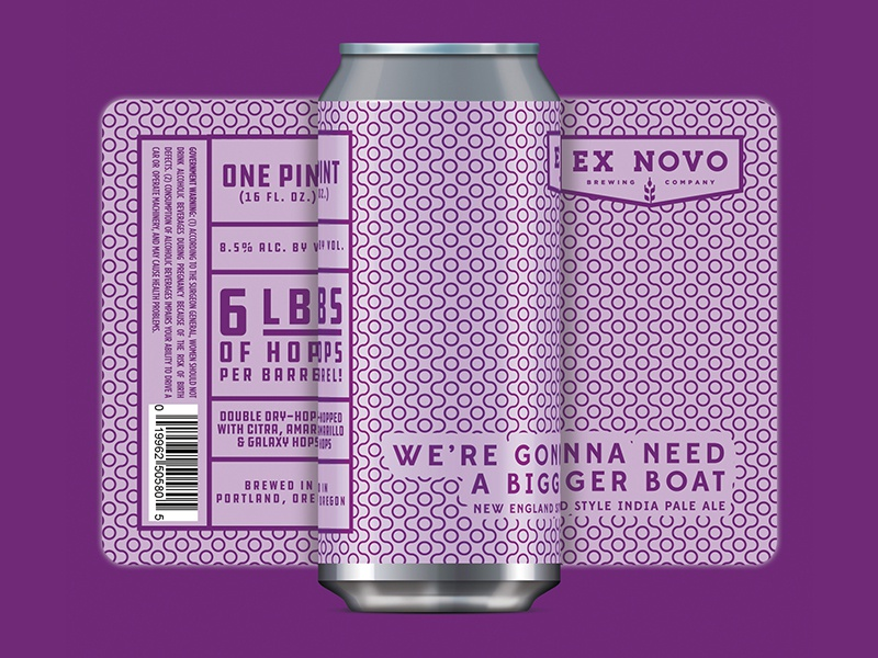 Ex Novo Brewing - We're Gonna Need a Bigger Boat can label packaging craft beer beer label beer 8 bit