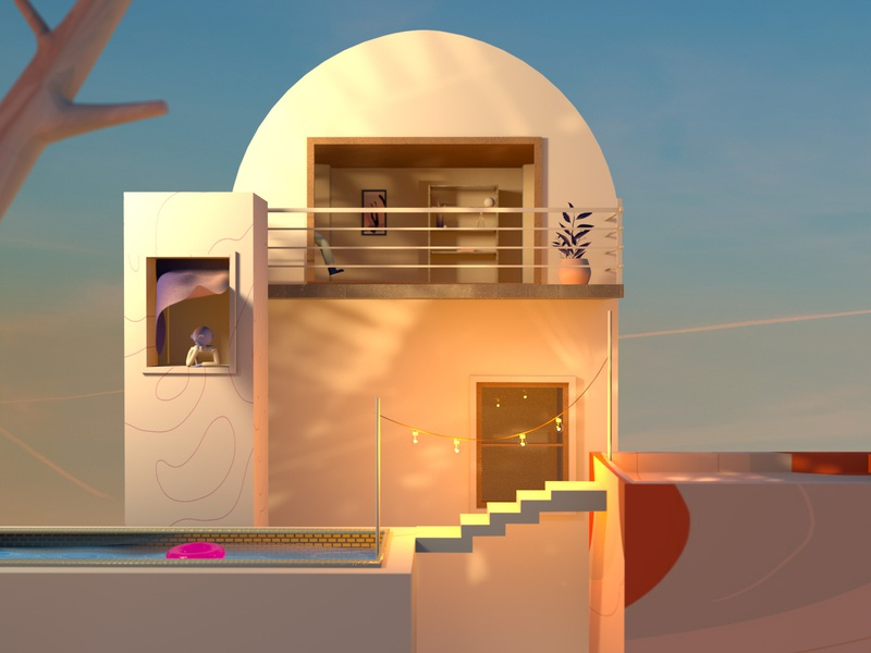 Peaceful Escape geometric buildings render octane ux ui character design design floral illustration cinema4d