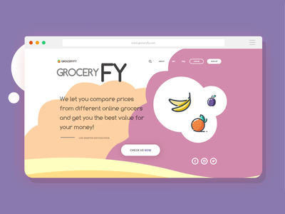 GROCERYFY - LANDING PAGE | WEB | UI | MOBILE website web ux ui mobile design animation