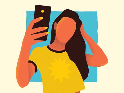 Selfie selfies blue yellow grain photo sun people holidays illustration pool beach summer summertime cellphone woman girl selfie