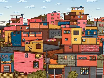 Favela doors birds local world house sky illustrator cc illustration colorful rio de janeiro city texture tropical grafitti detail halftone vector poor brazil favela