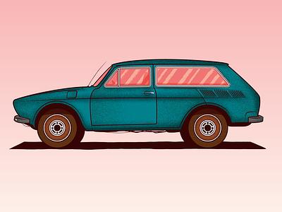 My kind of car illustration design shader grain texture grain pink green illustrator vector vintage old car