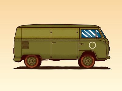 Army VW Kombi illustration design battleship battle vw van vw wwii brazil illustrator vector classic car classic war army kombi