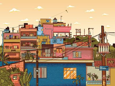 Favela 2 world vector tropical y texture sk rio de janeiro l poor loca illustrator cc illustration house halftone grafitti favela doors detail colorful city brazil birds