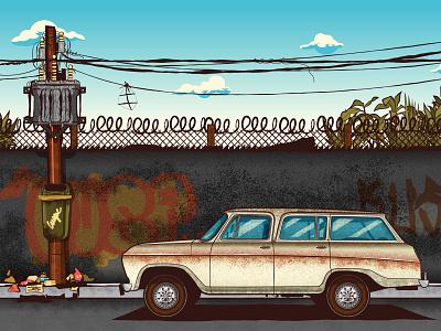 Urban landscape vectors brazilian street urban art city vectorart brazil sao paulo rubbish dirty cables cartoon graffiti car illustration illustrator vector art truegrittexture texture vector