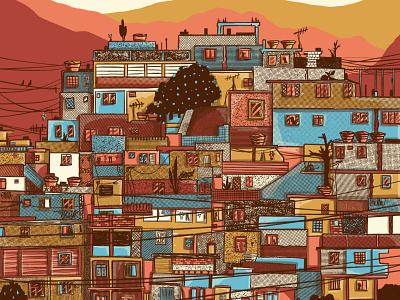 Tropical Paradise landscape design beach summertime pool sao paulo colorful rocinha rio rio de janeiro brasil brazil favela summer water illustration tropical