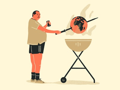 Let's burn it. editorial illustration global warming global warm beer barbecue fire change climate climate change world