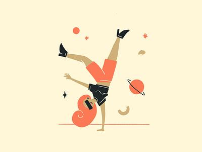 Upside Down editorial magazine ui illustration design color fun procreate girl