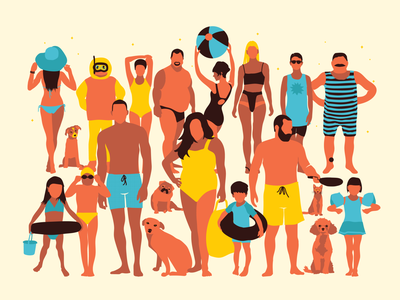 The group happy poolside pool party cat dog design cool swimmer duck people water swim swimming holidays illustration tropical summertime summer beach pool