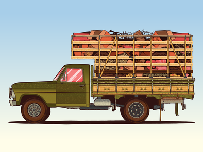 Moving out vintage vector truck traditional texture pickup old native moving junk illustration forniture ford flatdesign flat filetagem classic car brazil automotive