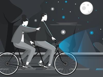 We design together with our clients agency trip road stars night tree together moon light bicycle composition design vector blu black illustrator gray blue illustration photoshop