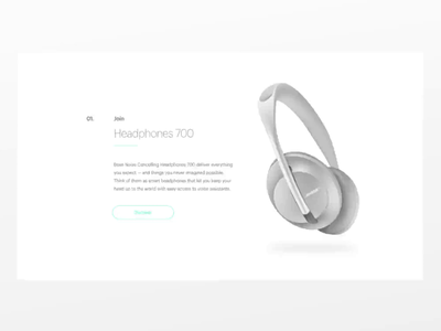 Minimal Product Page motion minimal scroll animation timeless design sketch gray product gallery page ui aftereffects animation brand identity tech blue white minimalism headphones branding