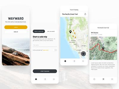 Wayward Tracking App mobile app tracking app travel app