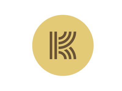Logo initial, K k gold thick lines logo