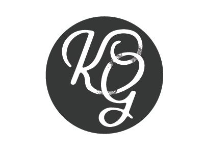 Logo mark initials K, G, g k initials texture script logo