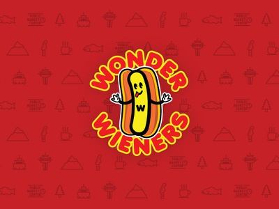 Wonder Wieners Branding seattle hotdog icons branding logo