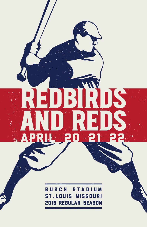 Cardinals reds poster april