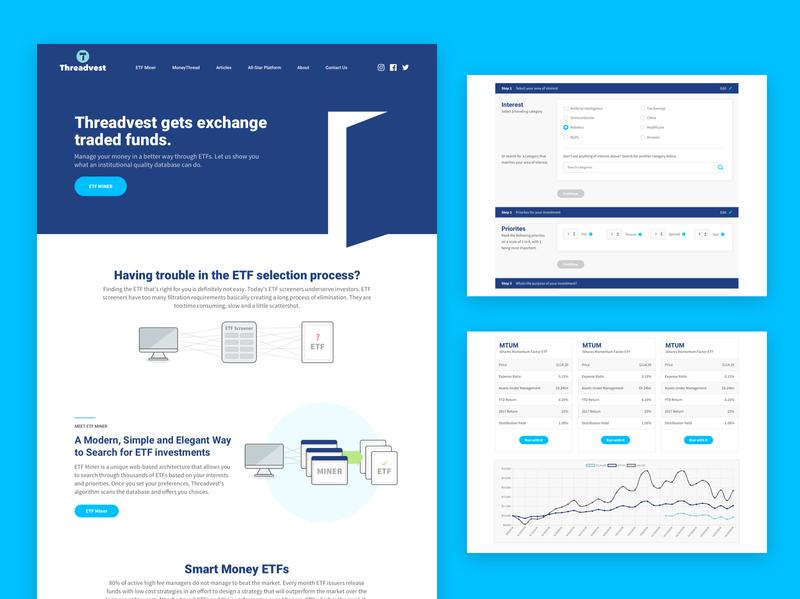 Threadvest webapp financial website design