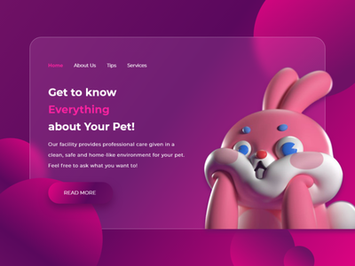 Pet Webpage (Glassmorphism Concept) webuiuxdesign webui website creative design creativity creative landing page design landing page website design web design pet pet care glassy glass webdesign glassmorphism