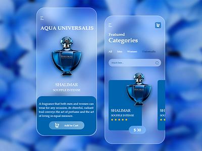 Perfume App Glassmorphism UI/UX Design shopping-app-ui-ux shopping-app-ux shopping-app-ui shopping-app minimal minimalist-design flat-design ux-design ui-design user-interface-design uiux-design app-design