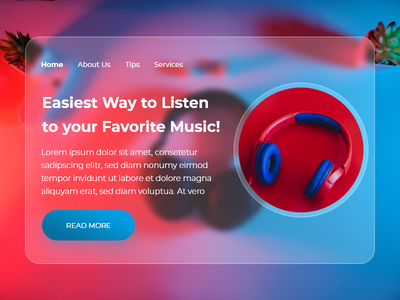 Music Landing Page Concept (Glassmorphism effect) web-concept music-landing-page landing-page websites web-ui music-webpage music landing songs ui clean