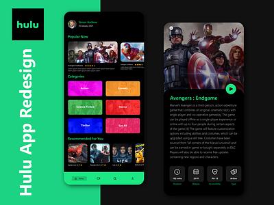 Hulu App Redesign ui hulu hulu-app songs-app trending minimal movies songs serials movies-app netflix entertainment