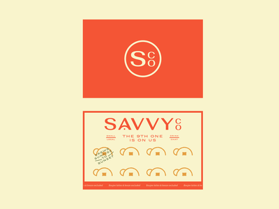 Savvy Co. badge bottle shop cafe restaurant branding campy collateral coffee card business card logo coffee