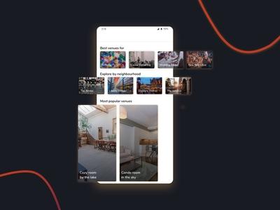 Event Space Finder App - Home discover home venue event app sketch