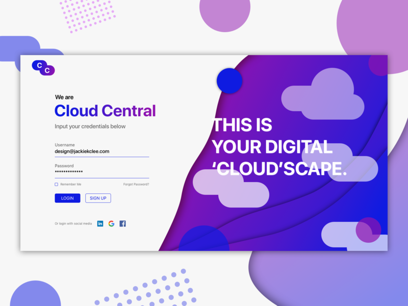 Login / Sign Up Page - DailyUI 001 sketch cloud user interface web design website dailyui001 dailyui dailyui 001