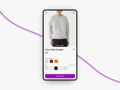 E-Commerce (Single Product) - DailyUI 012 shirt apparel ecommerce shop android 012 dailyui dailyui012