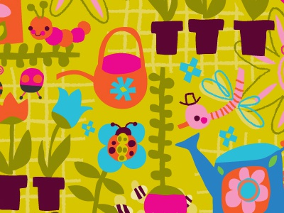 happy spring pattern pattern spring vector flowers insects