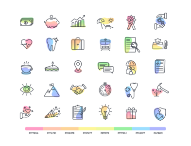 Benefits/HR/business icon set