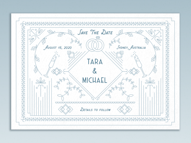 Save the date card print design illustration geometric floral white blue vintage line art wedding invite marriage wedding invitation invitation greeting card card wedding save the date