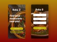 Sign Up form for restaurant app