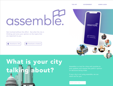 Assemble app webpage call to action sketchapp photoshop app government ux webpages website design uxui ui
