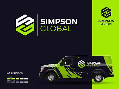 simpson global logo design global logo minimalist logo monogram logo flat design