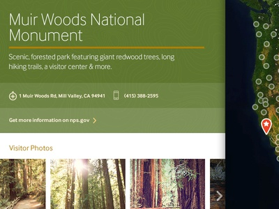 Muir Woods trees green marker map national park muir woods park web interface ux ui