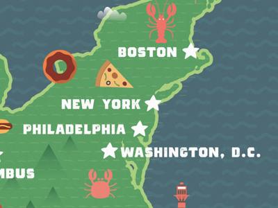 WIP Food Map donut pizza lobster crab washington dc philadelphia new york boston food trucks us map map food