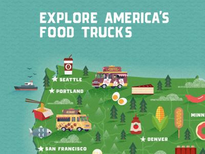 Explore America's Food Trucks interactive small business flat illustration textures map food trucks