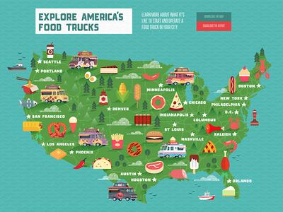 Food Truck Nation illustration flat color textures us map svg food truck washington dc dc points map